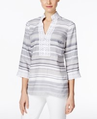 Charter Club Linen Striped Tunic Only At Macy's Mineral Ice Combo