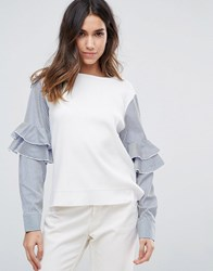 Amy Lynn Contrast Frill Sleeve Top White