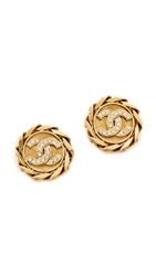 Wgaca Vintage Chanel Crystal Chain Button Earrings Gold Clear