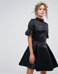 Chi Chi London High Neck Mini Dress With 3 4 Sleeve And Frill Detail Black