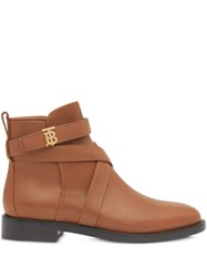 Burberry Monogram Motif Leather Ankle Boots Brown