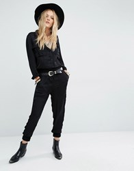 Denim And Supply Ralph Lauren By Satin Jumpsuit With Long Sleeves Black