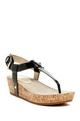 Ellen Tracy Ivie Platform Wedge Thong Sandal Black