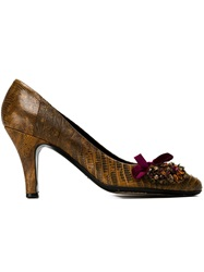 Prada Vintage Applique Pumps Brown