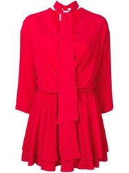 8Pm Tie Neck Short Dress Red