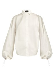 Joseph Sini Drawstring Back Cotton Sateen Shirt White