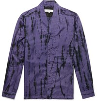 Sasquatchfabrix. Tie Dyed Collarless Crinkled Satin Shirt Purple