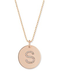 Zoe Chicco Initial Coin Pendant Necklace Rose Gold