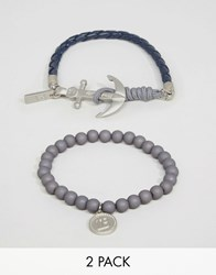 Icon Brand Beaded Anchor Bracelets In 2 Pack Navy