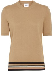 Burberry Short Sleeve Icon Stripe Detail Merino Wool Top Brown