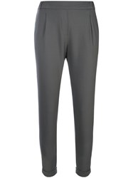 Fabiana Filippi Cropped Trousers Women Spandex Elastane Merino 44 Grey