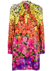 Gucci Floral Print Bow Dress Yellow And Orange