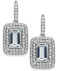 Macy's Aquamarine 1 1 10 Ct. T.W. And Diamond 1 3 Ct. T.W. Earrings In 14K White Gold