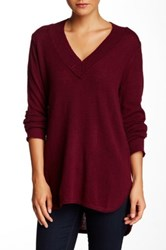 Cullen Hi Lo Wide V Neck Cashmere Sweater Red