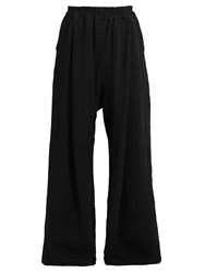 By Walid Wide Leg Linen Trousers Black