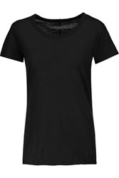 Enza Costa Slub Pima Cotton T Shirt Black