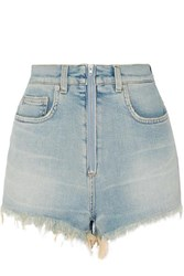 Givenchy Distressed Faded Stretch Denim Shorts Blue