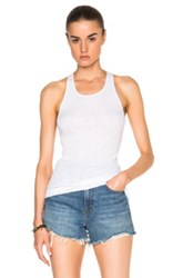 Enza Costa Rib Fitted Racer Tank Top In White