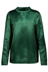 Tibi Amoret Satin Top Dark Green