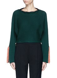Toga Archives Split Sleeve Braided Trim Cropped Sweater Green