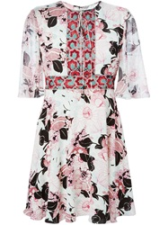 Giamba Embroidery Detail Flower Print Dress White