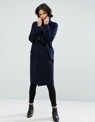 Asos Coat With Faux Fur Collar And Belt In Wool Mix Navy