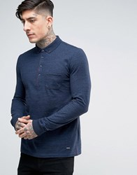 Boss Orange By Hugo Long Sleeve Marl Polo Shirt Navy
