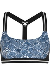 The Upside Shimoda Printed Stretch Jersey Sports Bra Blue