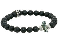 King Baby Studio 8Mm Onyx Bead Bracelet With Natural Top Hat Spotted Turquoise