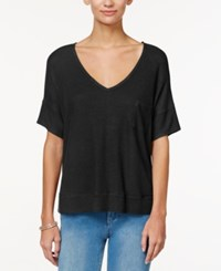 One Clothing Juniors' Cutout Back High Low Top Black