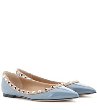 Valentino Rockstud Patent Leather Ballerinas Grey
