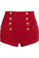 Balmain Pierre Button Detailed Quilted Denim Shorts Red