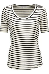 Rebecca Minkoff Willem Striped Cotton Blend T Shirt Cream