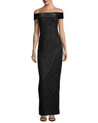 Karl Lagerfeld Off The Shoulder Lace Column Gown Black