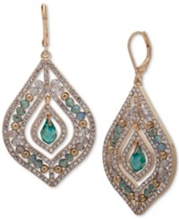 Lonna And Lilly Gold Tone Green Stone Beaded Chandelier Earrings