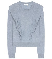 Chloe Cashmere And Cotton Sweater Blue