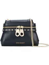 Twin Set Front Zip Crossbody Bag Blue