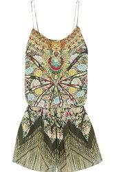 Camilla Flamenco Sweep Embellished Printed Washed Silk Playsuit Army Green