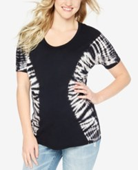 Wendy Bellissimo Maternity Tie Dyed T Shirt Black White