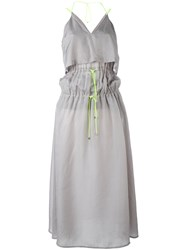 Marios Tiered Drawstring Dress Women Polyester Cupro M Grey
