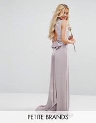 Tfnc Petite Wedding High Neck Maxi Dress With Bow Back Grey