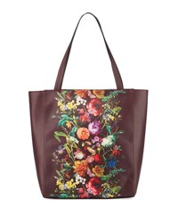 Elliott Lucca Bali Floral Faux Leather Tote Bag Bk Ch Autb