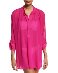Tommy Bahama Sheer Mandarin Collar Tunic Coverup Razzberry