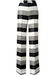 Pt01 Sequinned Striped Palazzo Pants Black