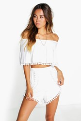 Boohoo Pom Pom Off The Shoulder Crop And Shorts Ivory