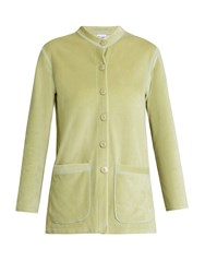 Roxana Salehoun Velvet Shirt And Shorts Cover Up Set Light Green