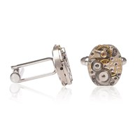 Lc Collection Vintage Lecoultre Timepiece Movement Cufflinks With Cotes Metal Finishing Silver