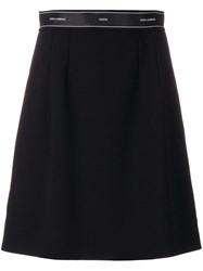 Dolce And Gabbana Ribbon Detail A Line Skirt Women Silk Polyester Spandex Elastane Virgin Wool 38 Black