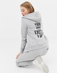 Armani Exchange Hoodie With Back Crossed Out Logo Grey