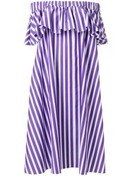 Maison Rabih Kayrouz Off Shoulder Striped Dress Pink And Purple
